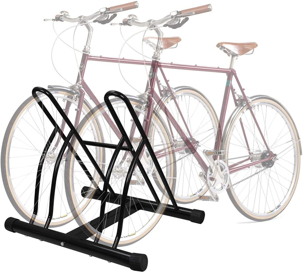 Floor two-bike stand