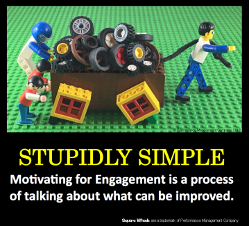 Square Wheels LEGO poster of engagement and motivation