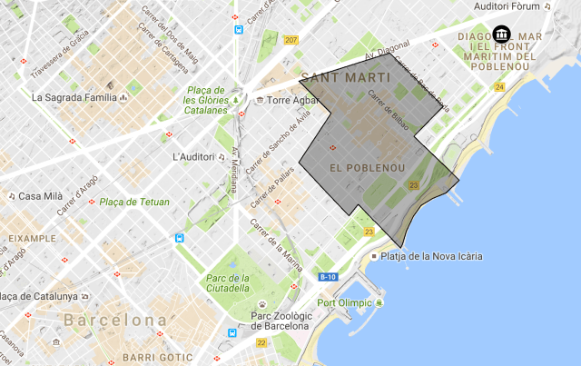 The area of Poble Nou and on the right the conference venue