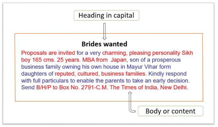 Brides wanted matrimonial advertisement format