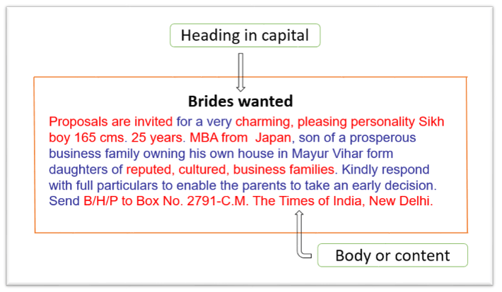 Brides wanted matrimonial advertisement format