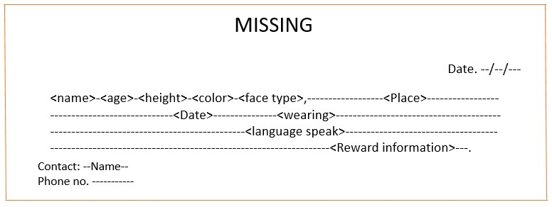 Missing person advertisement format
