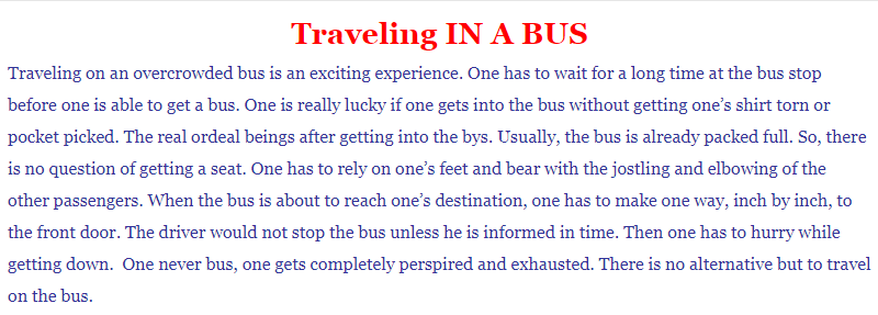 Process Writing on Traveling In A Bus 150-200 Words