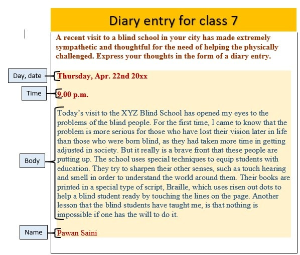 Diary entry for class 7 with solved example