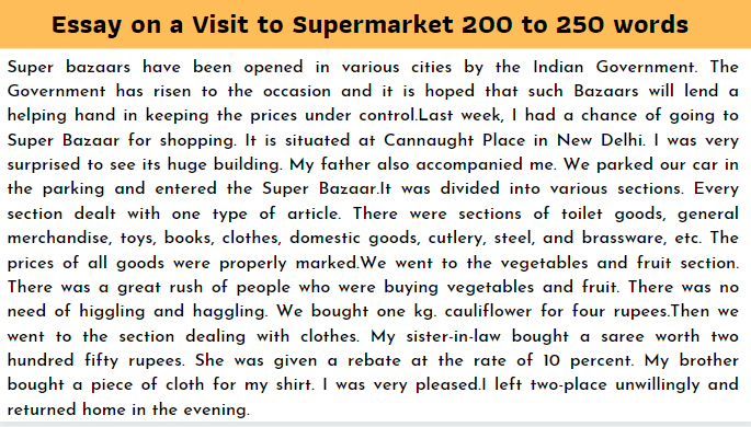 Essay on a Visit to Supermarket 200 to 250 words