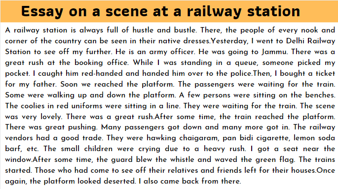 Essay on a scene at a railway station
