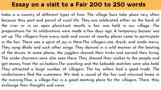 Essay on a visit to a Fair 200 to 250 words