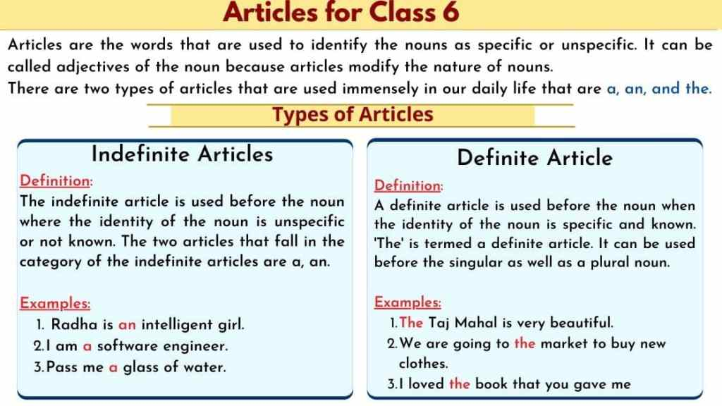 Articles for class 6, Types of articles, Definite articles, Indefinite Articles, Examples, Worksheet