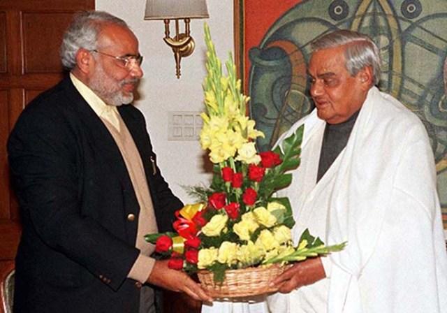PM Shri Atal Bihari Vajpayee meets CM of Gujarat, Shri Narendra Modi. January 10, 2003