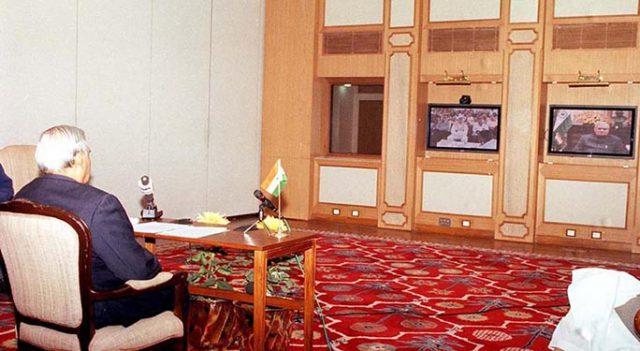 PM Shri Atal Bihari Vajpayee holds a videoconferencing with the CM of Gujarat Shri Narendra Modi. January 25, 2002