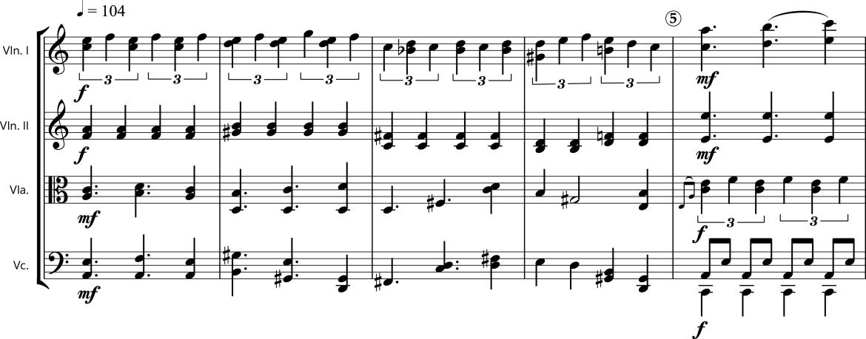 Example 2. String Quartet 6 (2013), measures 1-5