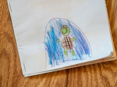Drawing of a turtle on the cover of a book written by Michael Macaluso, 7, a second-grader at St. Joe School in South Bend.