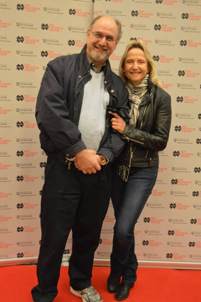 Peter Holland with Romana Huk at Notre Dame Student Film Festival