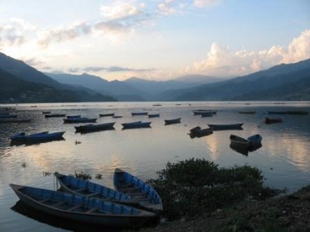 Pokhara's Phewa lake at sunset