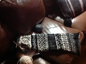 black and white fair isle scarf