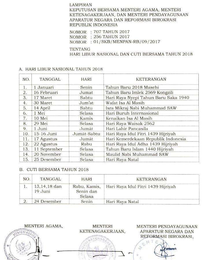 Lampiran Resmi Daftar Hari Libur Nasional Dan Cuti Bersama 2018
