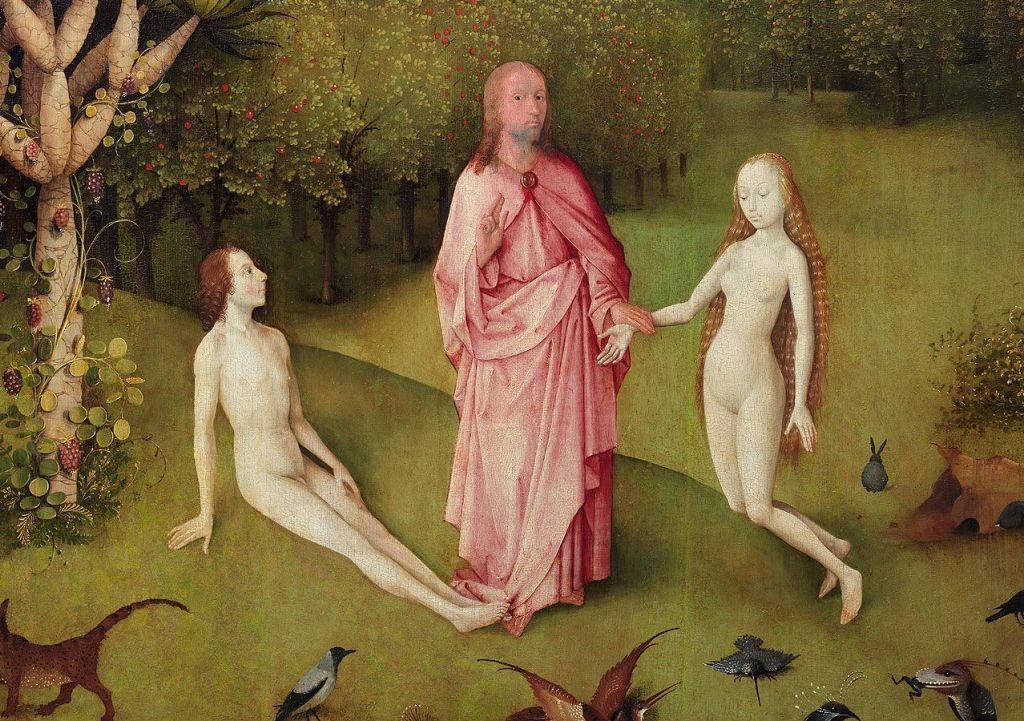 adan y eva-jesus-jesucristo-dios-jardin de las delicias-el bosco-paraiso