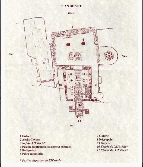 Plan de l'église monolithe d'Aubeterre (extrait d'un dépliant remis lors des visites)