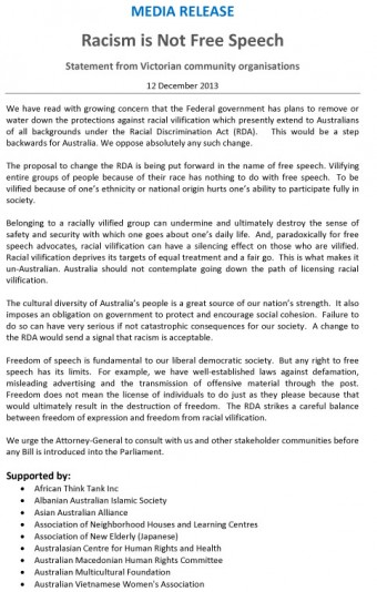 MEDIA-RELEASE-Vic-RACISM-IS-NOT-FREE-SPEECH-Dec-2013-1