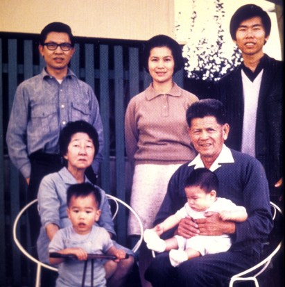 My sister Frances visited from the USA. She'd married a Japanese American and brought her two sons, William and Robert to meet the grandparents.