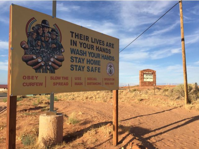 A sign near the entrance to the Lechee Chapter House on the Navajo Nation