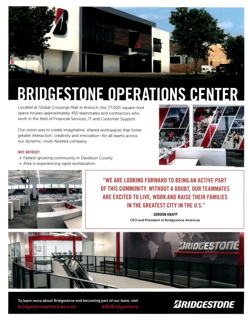 Bridgestone Operations Center Info Sheet