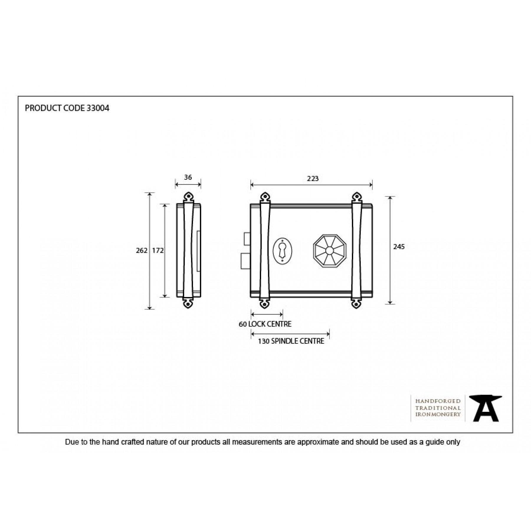 Pewter Patina Oak Box Lock Reversible