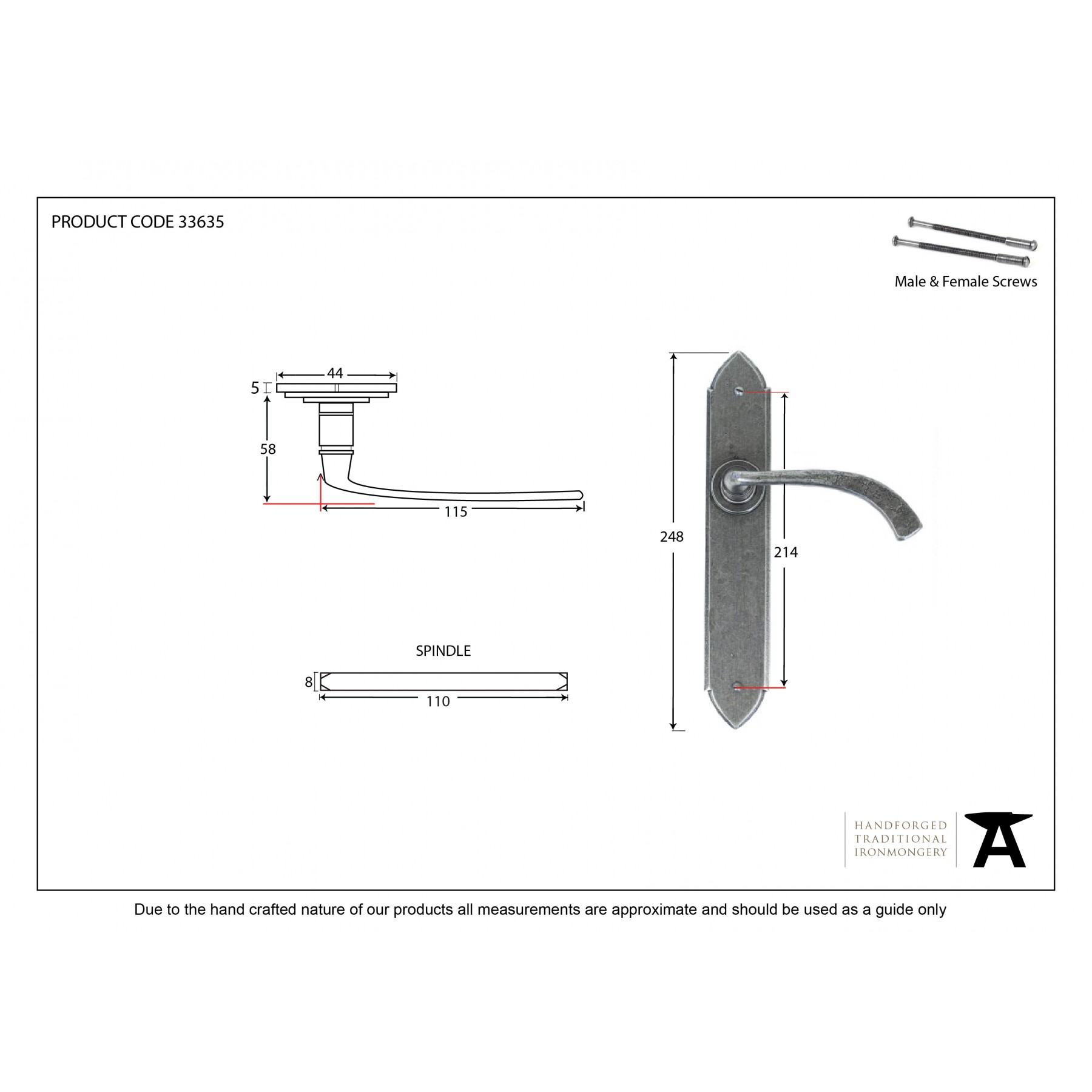 Pewter Gothic Curved Sprung Lever Latch Set