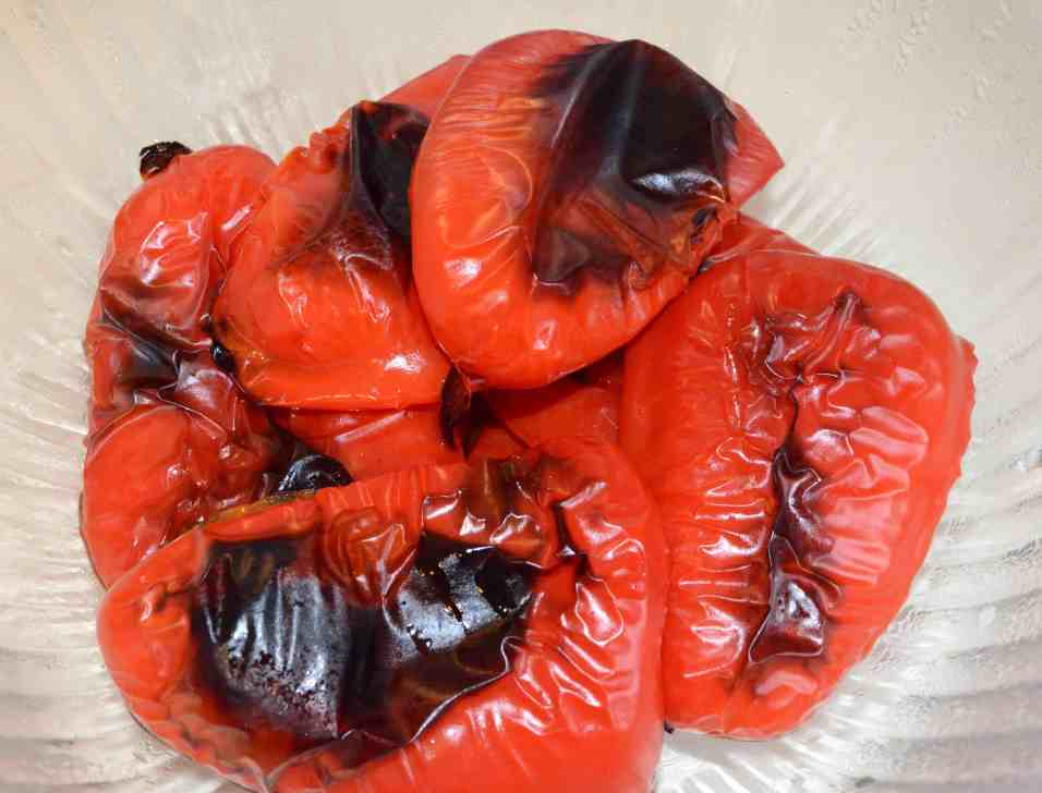 roasted red peppers with wrinkly burnt skin