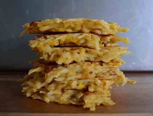 a stack of potato pancakes is good for brunch or dinner