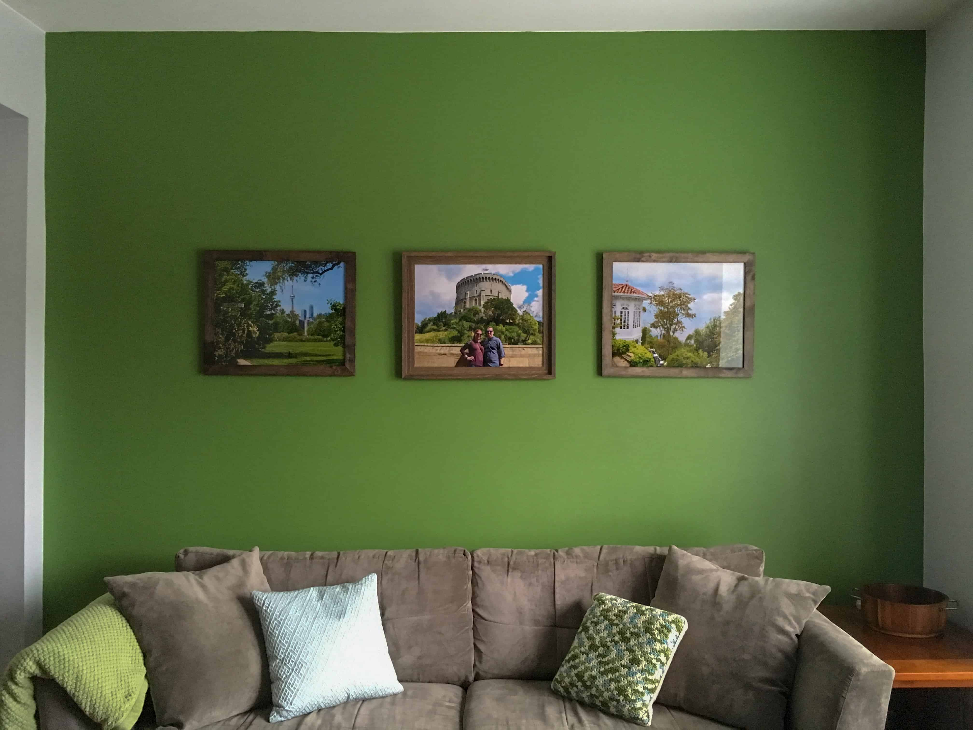 finished accent wall with pictures
