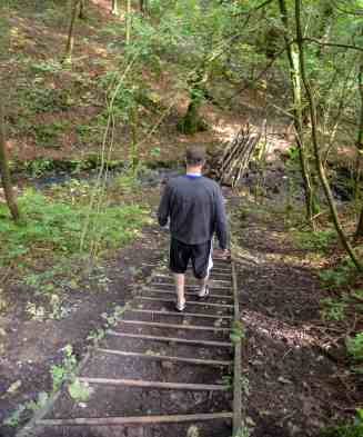 Mr. PC descending an outdoor staircase on the path