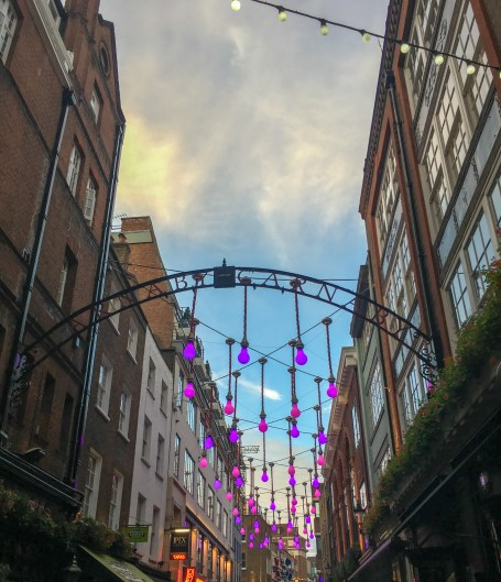 The Carnaby neighborhood in London has lots of shops and restaurants.