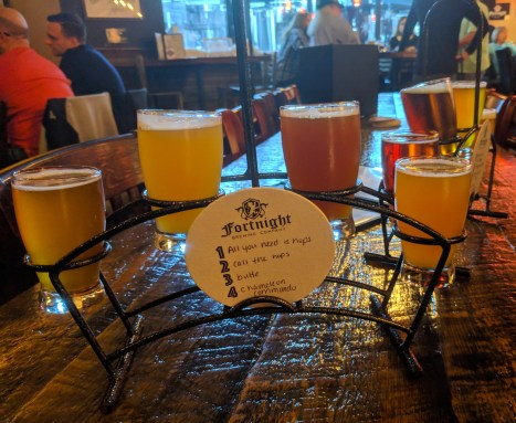 flight of beers at Fortnight