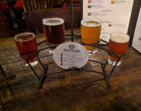 flight at Fortnight Brewing