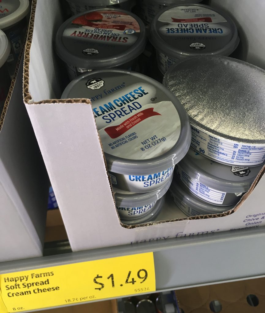 cream cheese comes in an easy close tub