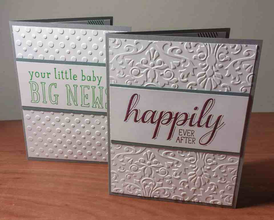 "cards saying ""your little baby is big news"" and ""happily ever after"""