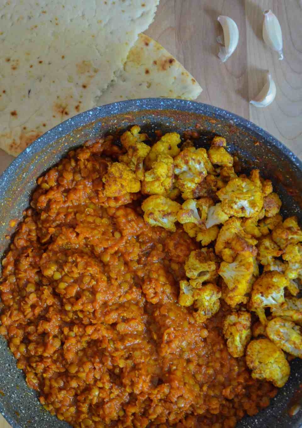 curried lentils & roasted cauliflower