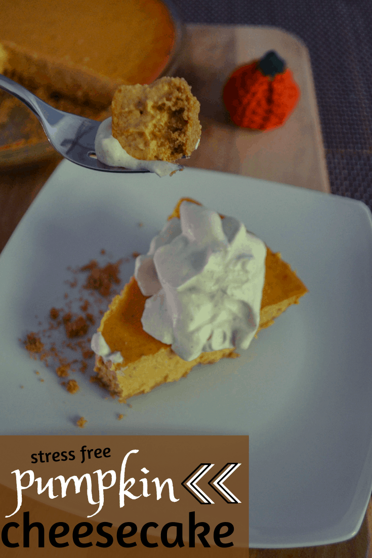 Pumpkin cheesecake without a springform pan is an easy fall dessert. Topped with cinnamon vanilla whipped cream and it's absolutely divine. #thanksgiving #easydessert