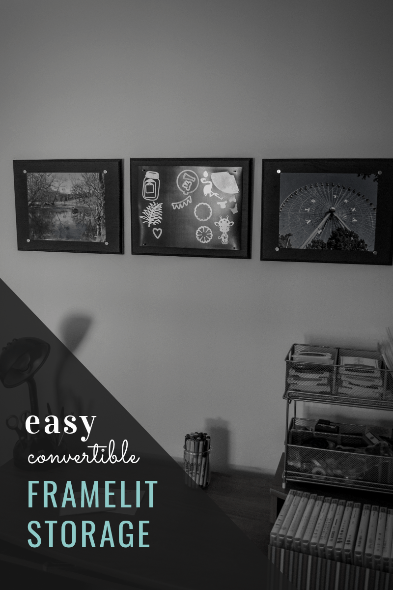Make framelit storage that can double as wall decor.