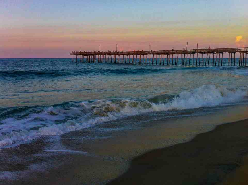 Sunset over the pier in Nags Head