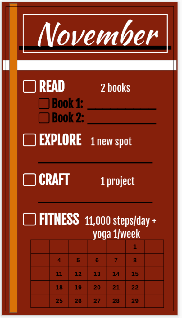 planning out goals for November
