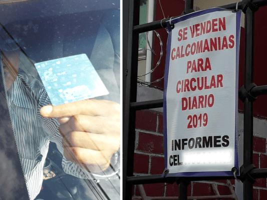 """Ofrecen calcomanías apócrifas para exentar el programa """"Hoy no circula"""""""