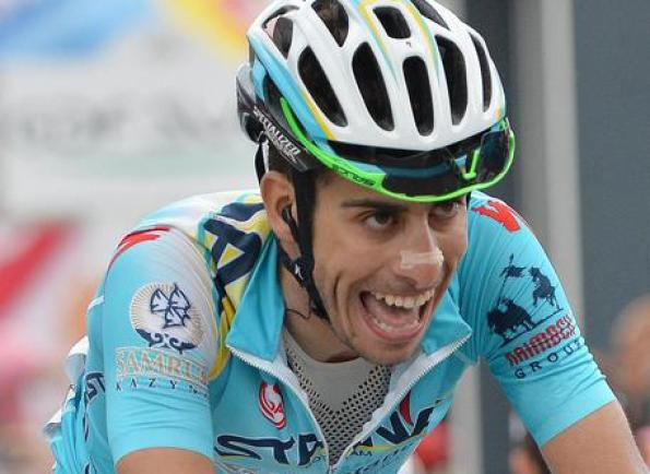 Italian rider Fabio Aru of Astana team exhausted after the 14th stage of the 97th Giro d'Italia cycling race over 164km from Aglie' to Oropa, Italy, 24 May 2014. ANSA/LUCA ZENNARO