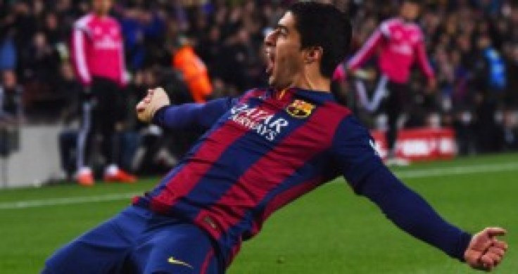 BARCELONA, SPAIN - MARCH 22:  Luis Suarez of Barcelona celebrates as he scores their second goal during the La Liga match between FC Barcelona and Real Madrid CF at Camp Nou on March 22, 2015 in Barcelona, Spain.  (Photo by David Ramos/Getty Images)