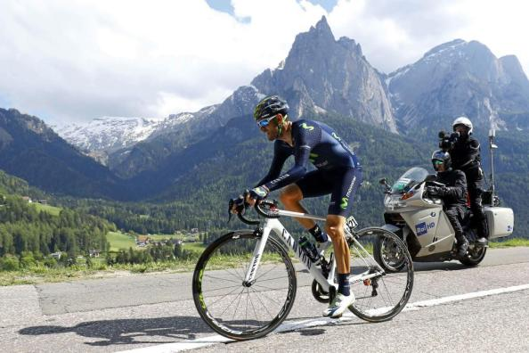 Spanish rider Alejandro Valverde of team Movistar competes during the 15th stage of the 99th Giro d'Italia, Tour of Italy, an uphill individual time trial between Castelrotto and Alpe di Siusi on May 22, 2016. AFP PHOTO / LUK BENIES