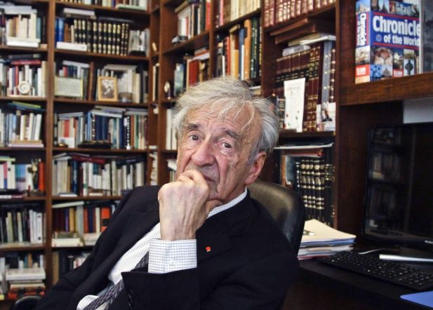 Author and Nobel Laureate Elie Wiesel surrounded by books.