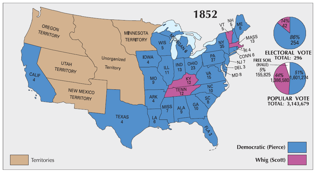 Election Of 1852 Map