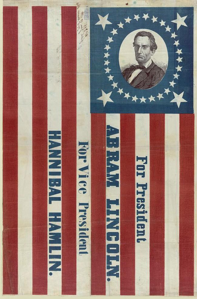 Abraham Lincoln, For President, Abram Lincoln. For Vice President, Hannibal Hamlin, print by H.C. Howard, c. 1860