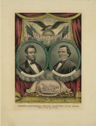17 Andrew Johnson, Grand national union banner for 1864. Liberty, union and victory, Currier _ Ives,1864